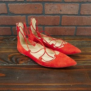 J. CREW Suede Lace-up Flats Size 10 Red